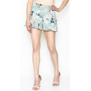 Sugar Lips Mint floral flowy high waisted shorts S
